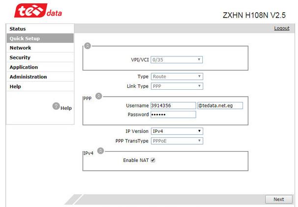 192-168-1-1(quick setup-tedata user name and password)