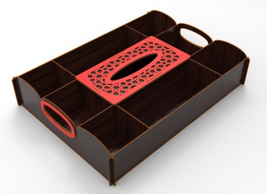 Laser Cut Wooden Candy Dried Fruit Tray With Napkin Box Sealed Nuts Plate Snack Dish Storage Box DXF File