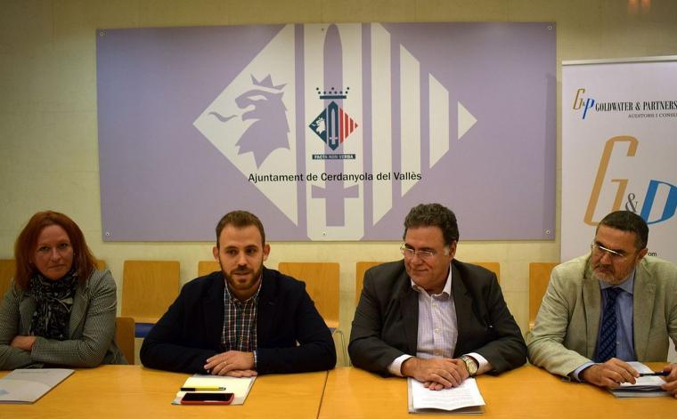 Carme Arché, Carlos Cordón, Francisco Hidalgo i Xavier Garriga durant la roda de premsa