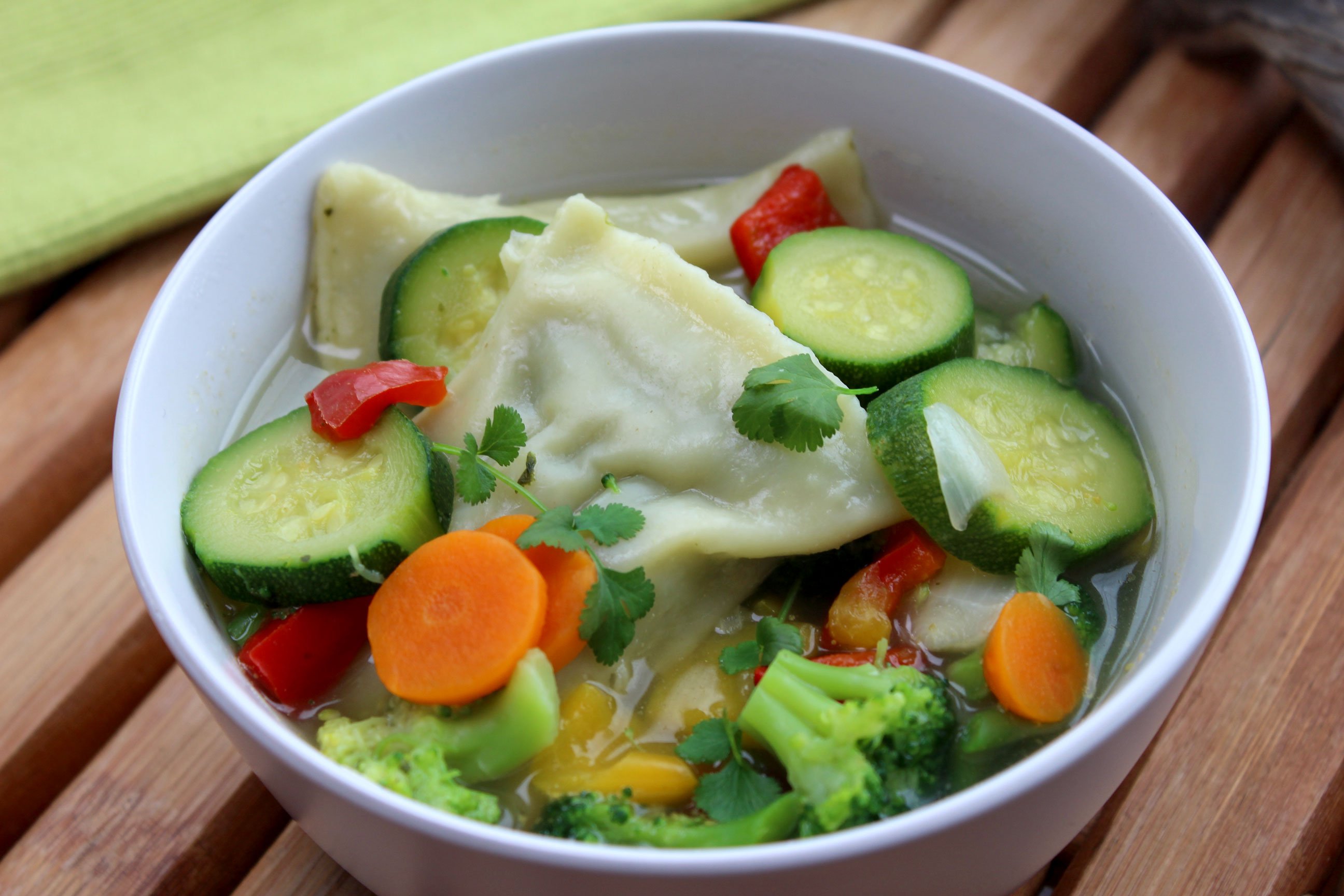 Vegetable Mixed Soup with Maultaschen