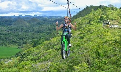 Zipline fietsen Bohol Filipijnen