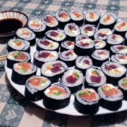 Tuna and Salmon Futomaki