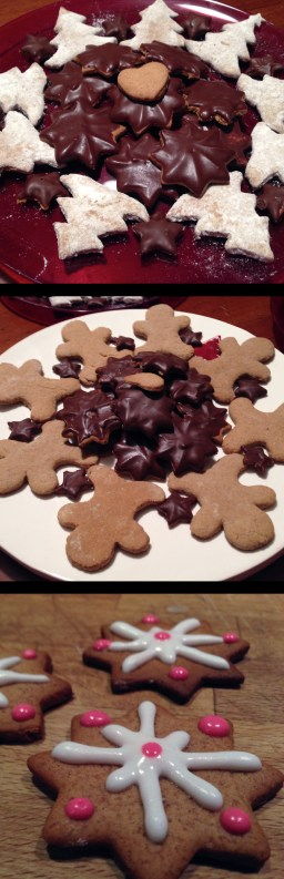 Gingerbread Christmas cookies covered with chocolate or frosting