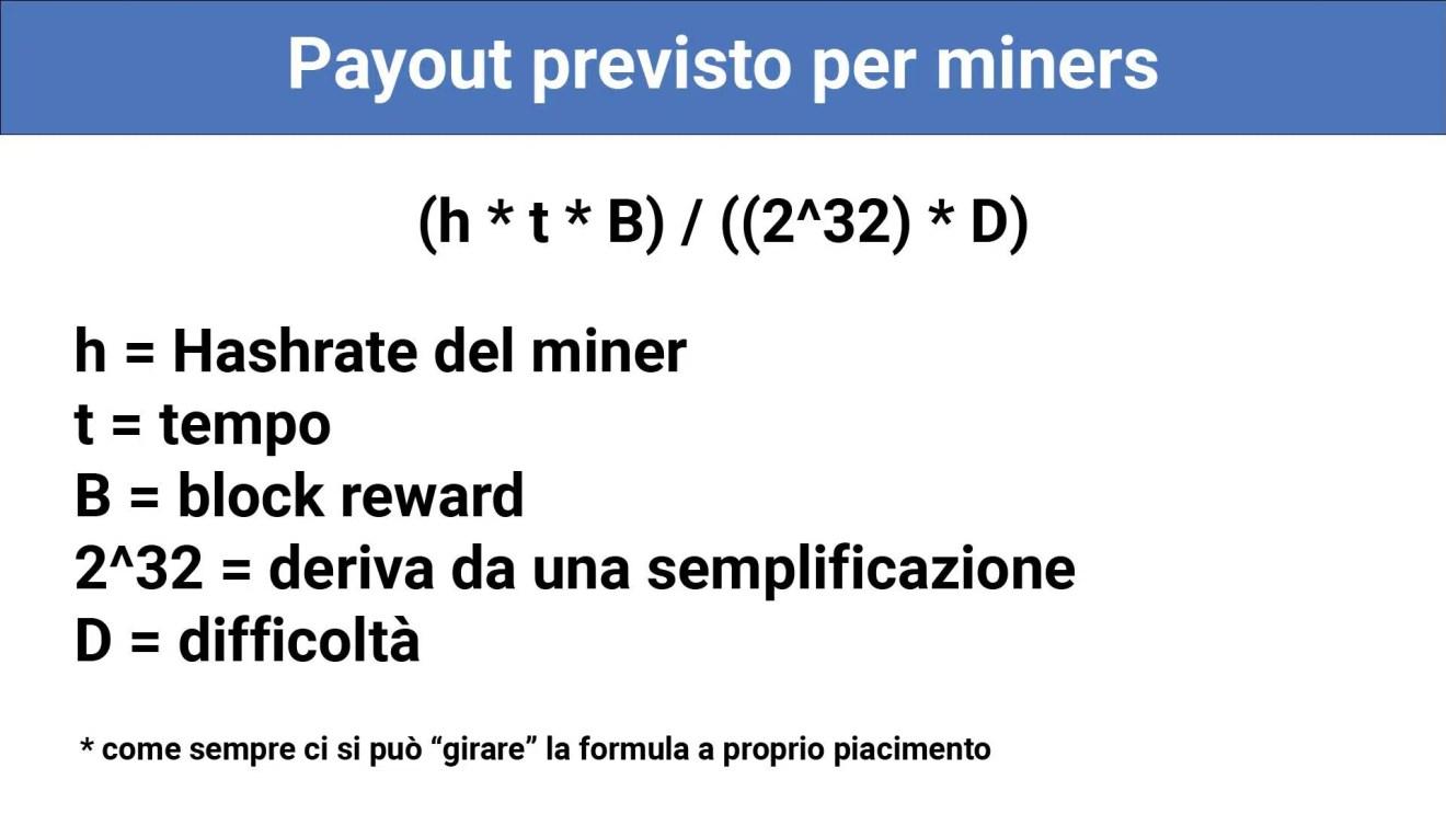 mining formula payout previsto