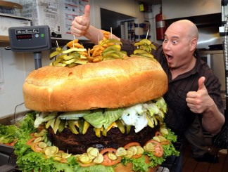 Steve Mallie of Mallie's with the finished world-record hamburger.
