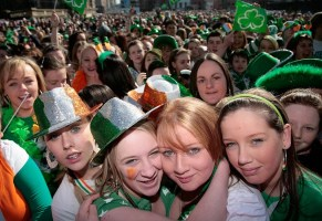 teenage girls at the front of the crowd at the St Patricks Day Concert in Custom House Square in BELFAST, UNITED KINGDOM - MARCH 17:
