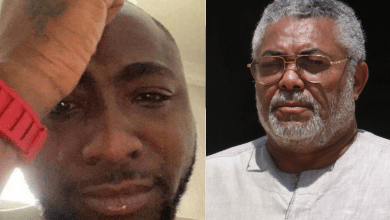 Davido weeps over the death of JJ Rawlings