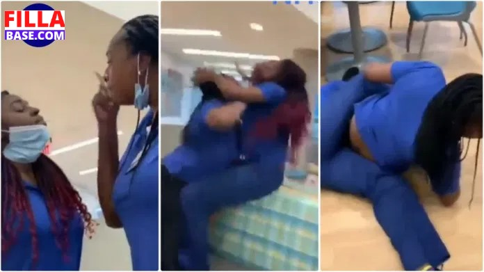 2 Beautiful Nurses Fight And Dirty Themselves Over Food In Hospital - Video
