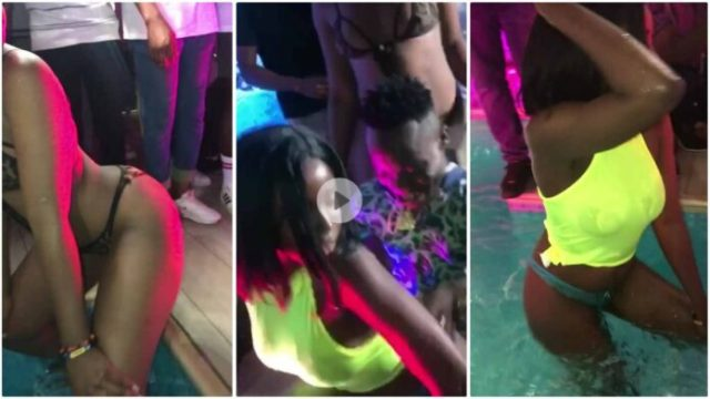 Sl@y Queens Tw£rk For Shatta Bandles At Poolside Goes Viral (Photos+Video)