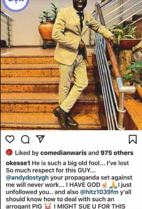 okese 1 insults andy dosty