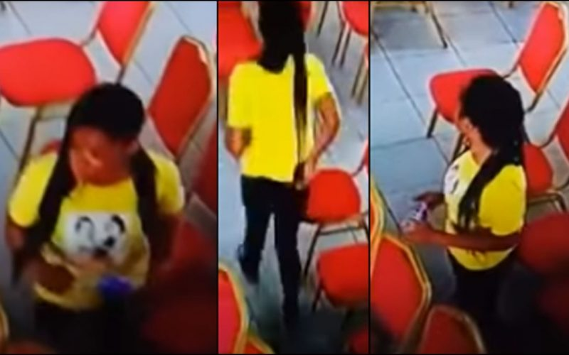 Lady Caught On Camera Stealing Phone in Church