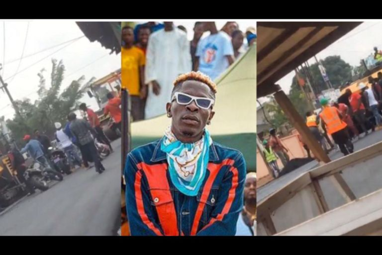 A video shows Shatta Wale and his Nima gang beating up a road contractor for blocking his access to the road