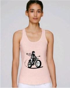 debardeur moto femme rose pistarde