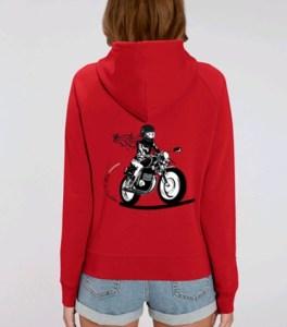 sweat shirt capuche femme moto rouge fille au guidon