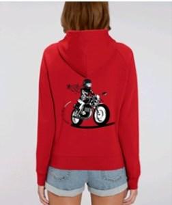 dos du sweat shirt femme moto rouge blanc et noir fille au guidon