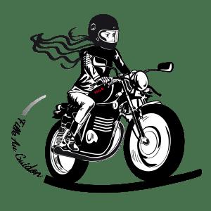 Fille au guidon, vêtements et accessoires pour les femmes qui roulent en moto et deux roues