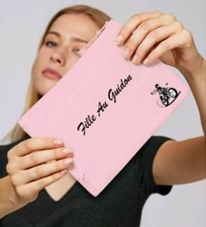 petit sac moto femme rose fille au guidon