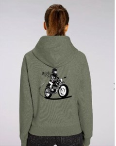 sweat shirt moto femme kaki fille au guidon