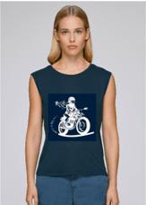 tshirt moto femme modal bleu