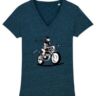 le tshirt motarde bleu denim Fille Au Guidon est en coton bio