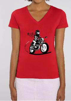 Tee shirt motarde col v rouge fille au guidon