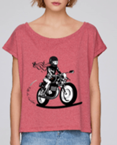 tee shirt motarde crop top grenade Fille Au Guidon