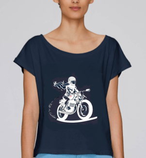 tee shirt moto femme ample bleu marine