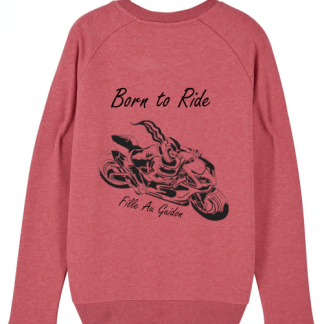 photo du sweat motarde rose grenade Fille Au Guidon