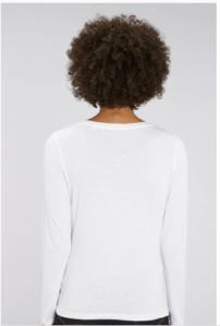 dos tee shirt manche longue motarde blanc