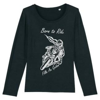 le t-shirt pistarde manche longue fille au guidon est souple et confortable