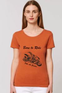 le tee shirt orange pour les motardes qui aiment les sportives