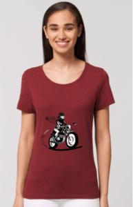 offrez un cadeau de noel à la motarde de votre coeur avec ce tee shirt motarde bordeaux