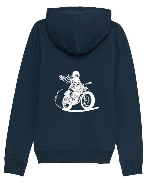 le sweat à capuche zippé bleu marine fille au guidon est doublé molleton, idéal pour les balades moto des motardes en bord de mer