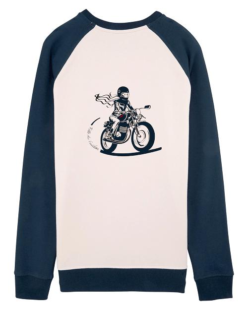 le sweat vintage fille au guidon est un sweat shirt developpé pour les motardes
