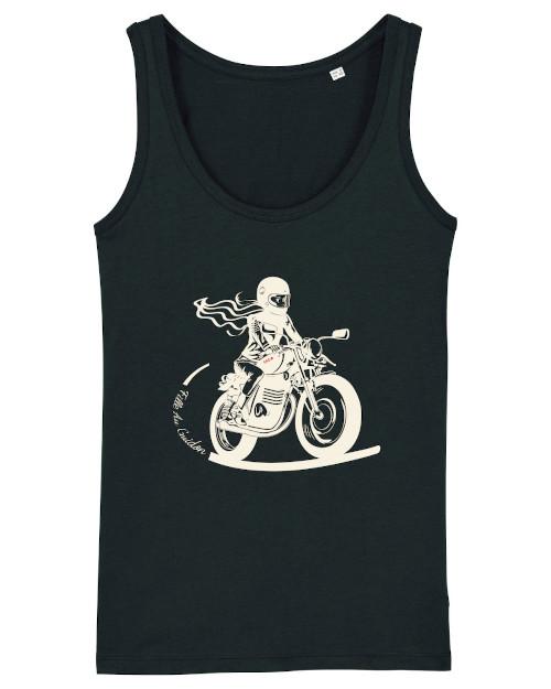 le debardeur motarde noir est dessiné pour les filles au guidon