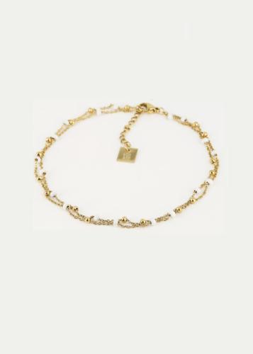 ZAG Bijoux Enkelbandje – Witte Kraaltjes Goud