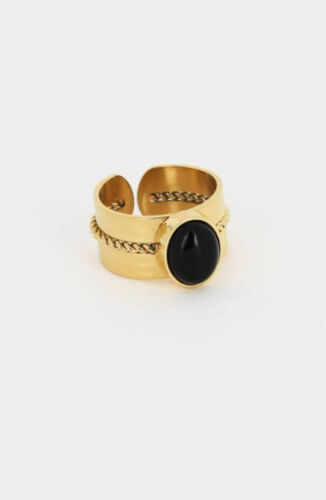 ZAG Bijoux Ring – Zwarte Steen Goud