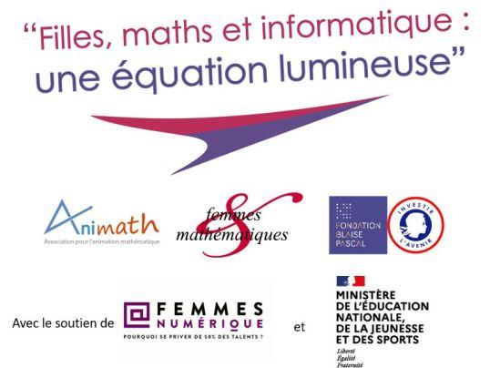 """Logo journées """"Filles, maths et informatique : une équation lumineuse"""""""