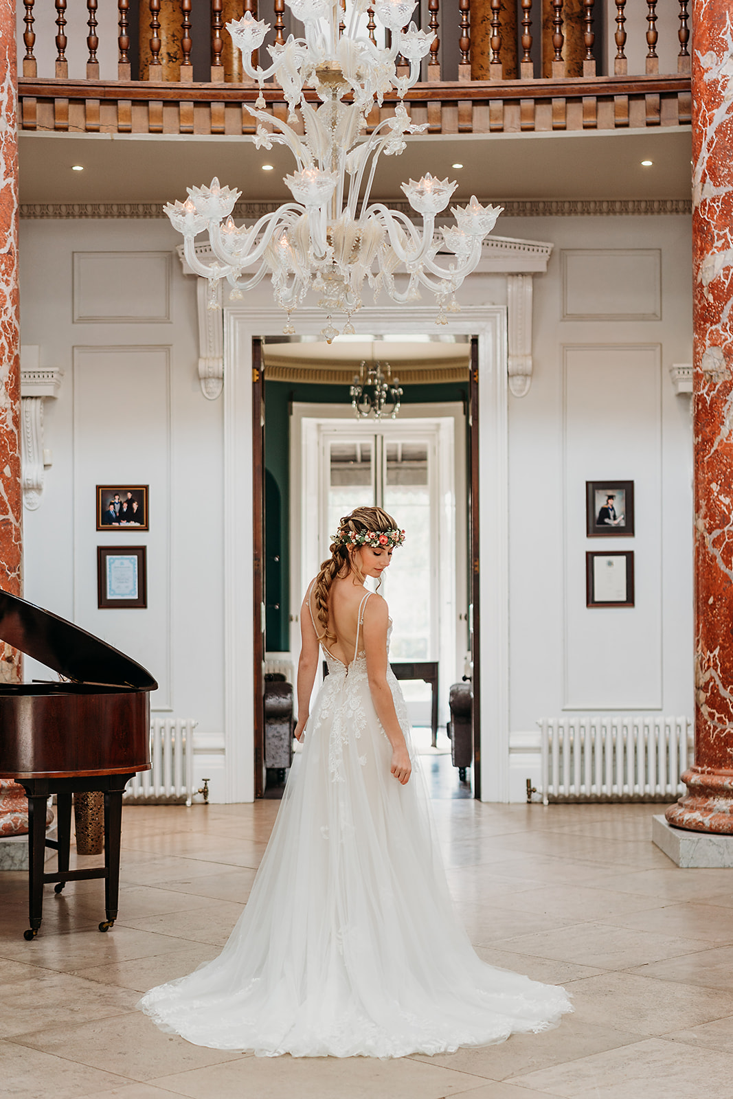Fillongley Hall - entrance Hallway with dramatic Inonic columns with bride - exclusive weddings - wedding ceremonies - warwickshire wedding venue
