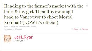 Jeri Ryan, Mortal Kombat: Rebirth Twitter Post