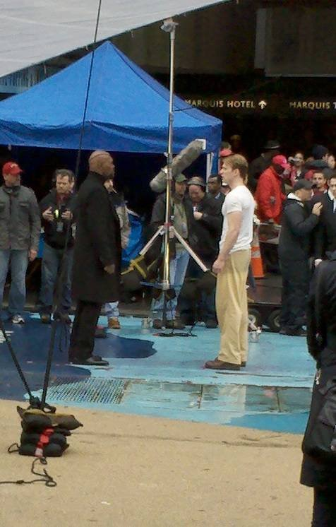 Chris Evans, Samuel L. Jackson, Captain America: The First Avenger, New York City, Set, 02
