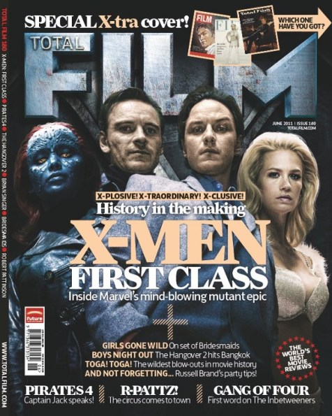 January Jones, James McAvoy, Michael Fassbender, and Jennifer Lawrence, Total Film Magazine June 2011, X-Men: First Class Cover