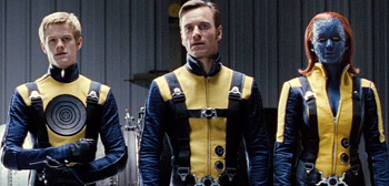 Lucas Till, Michael Fassbender, Jennifer Lawrence, X-Men: First Class