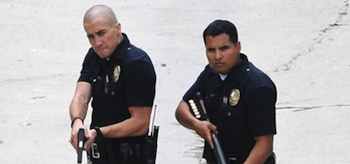 Jake Gyllenhaal, Michael Pena, End of Watch, Los Angeles Set Photo, 06