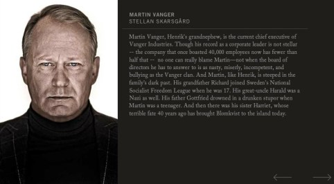 Stellan Skarsgard, The Girl With The Dragon Tattoo 2011, Martin Vanger Character Profile