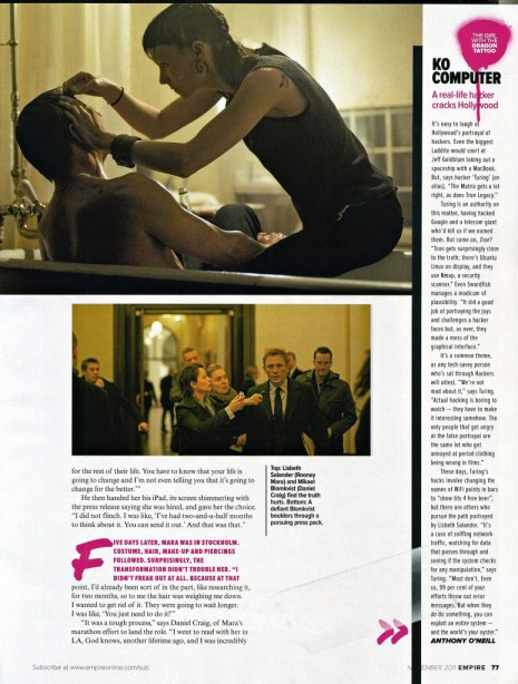 The Girl with the Dragon Tattoo, Empire Magazine November 2011 Article, 03