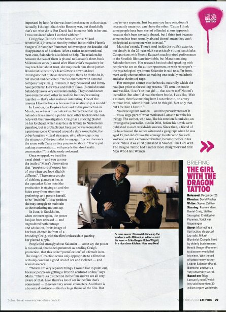 The Girl with the Dragon Tattoo, Empire Magazine November 2011 Article, 04