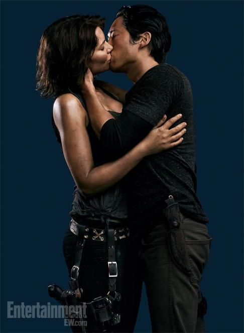 Lauren Cohan Steven Yeun Kiss The Walking Dead Season 4