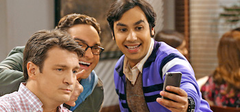 Johnny Galecki Kunal Nayyar Nathan Fillion The Big Bang Theory The Comic Book Store Regeneration