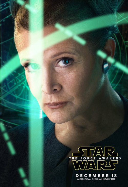 Leia Organa Carrie Fisher Star Wars The Force Awakens movie poster